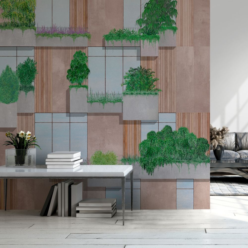 Vertical Forest Mural - Nude - by Coordonne
