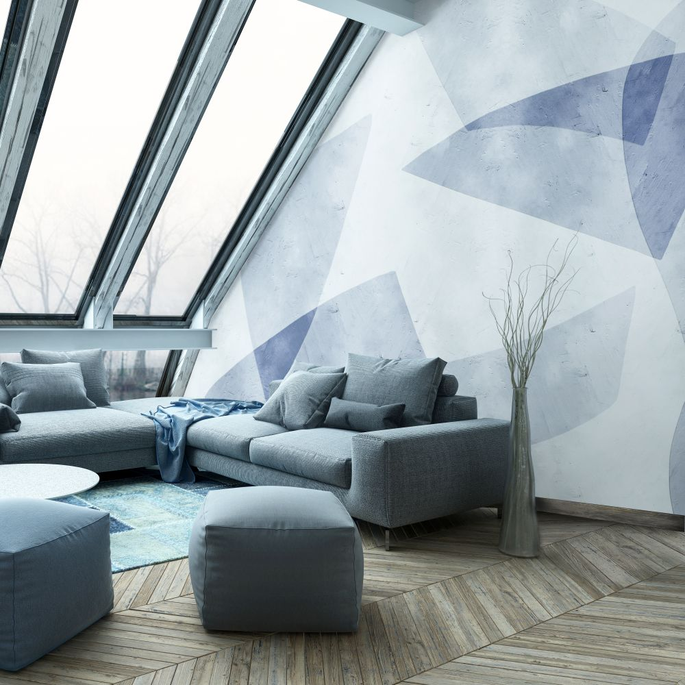 Shapes Mural - Blue - by Coordonne