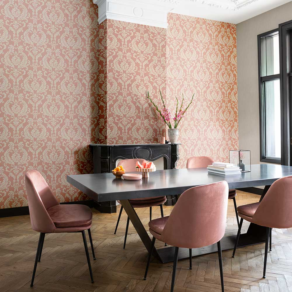 Herringbone Damask Wallpaper - Red - by Elite Wallpapers