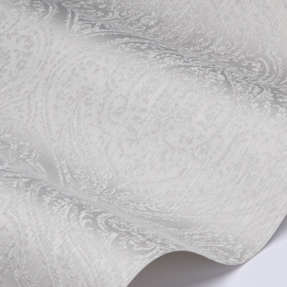 Paisley Damask Wallpaper - Grey - by Elite Wallpapers