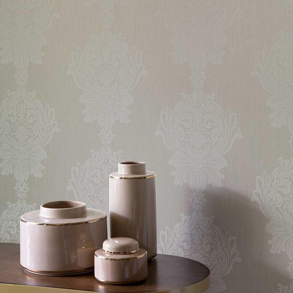 Damask Stripe Wallpaper - Grey - by Elite Wallpapers