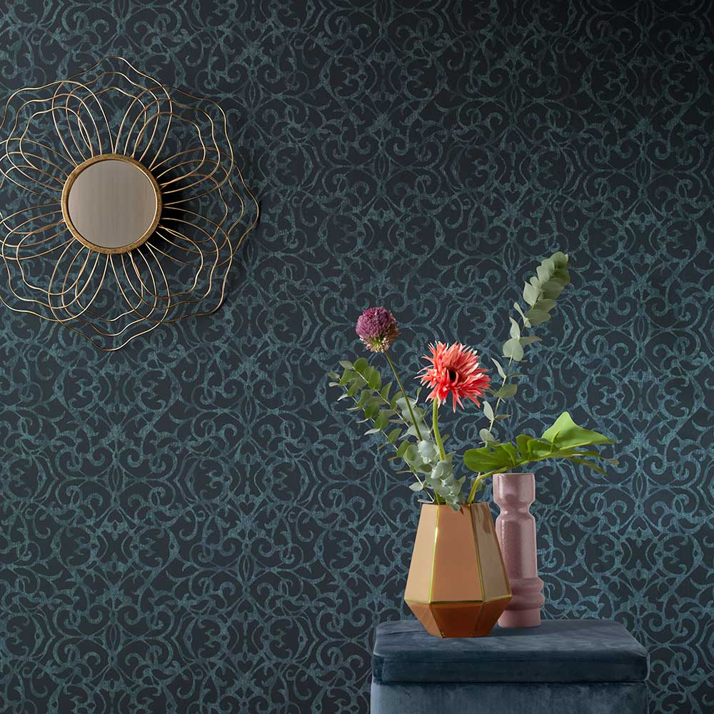 Knightsbridge Damask Wallpaper - Blue - by Elite Wallpapers