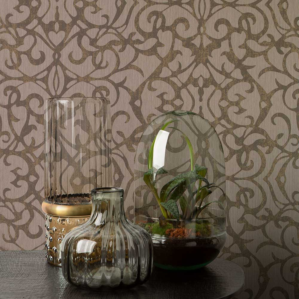 Knightsbridge Damask Wallpaper - Brown - by Elite Wallpapers