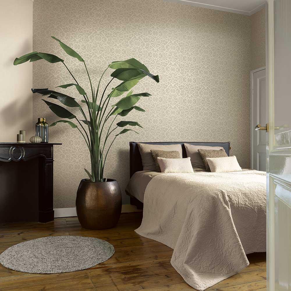 Knightsbridge Damask Wallpaper - Cream - by Elite Wallpapers