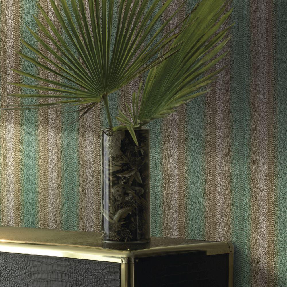 Riga Kenya Wallpaper - Teal - by Roberto Cavalli
