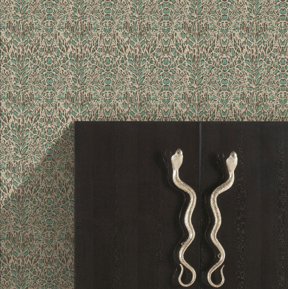 Unito Kenya Wallpaper - Teal - by Roberto Cavalli