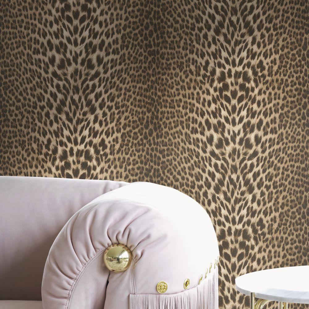 Unito Pantera Wallpaper - Brown - by Roberto Cavalli