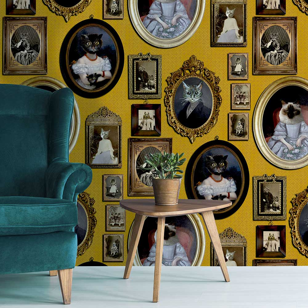 A Cavalcade of Cats Wallpaper - Mustard - by Graduate Collection