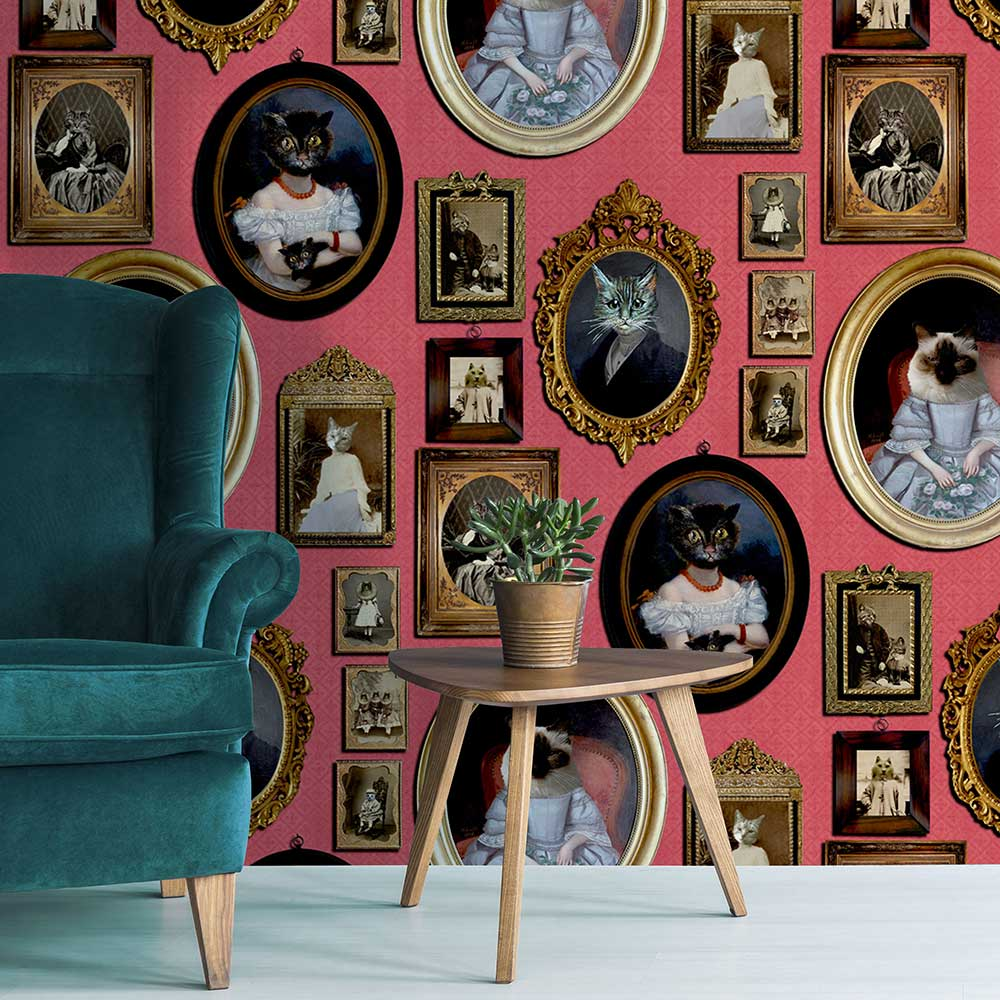 A Cavalcade of Cats Wallpaper - Red - by Graduate Collection
