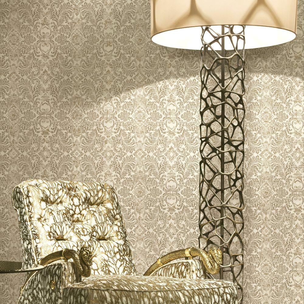 Damasco Watamu Wallpaper - Nude - by Roberto Cavalli