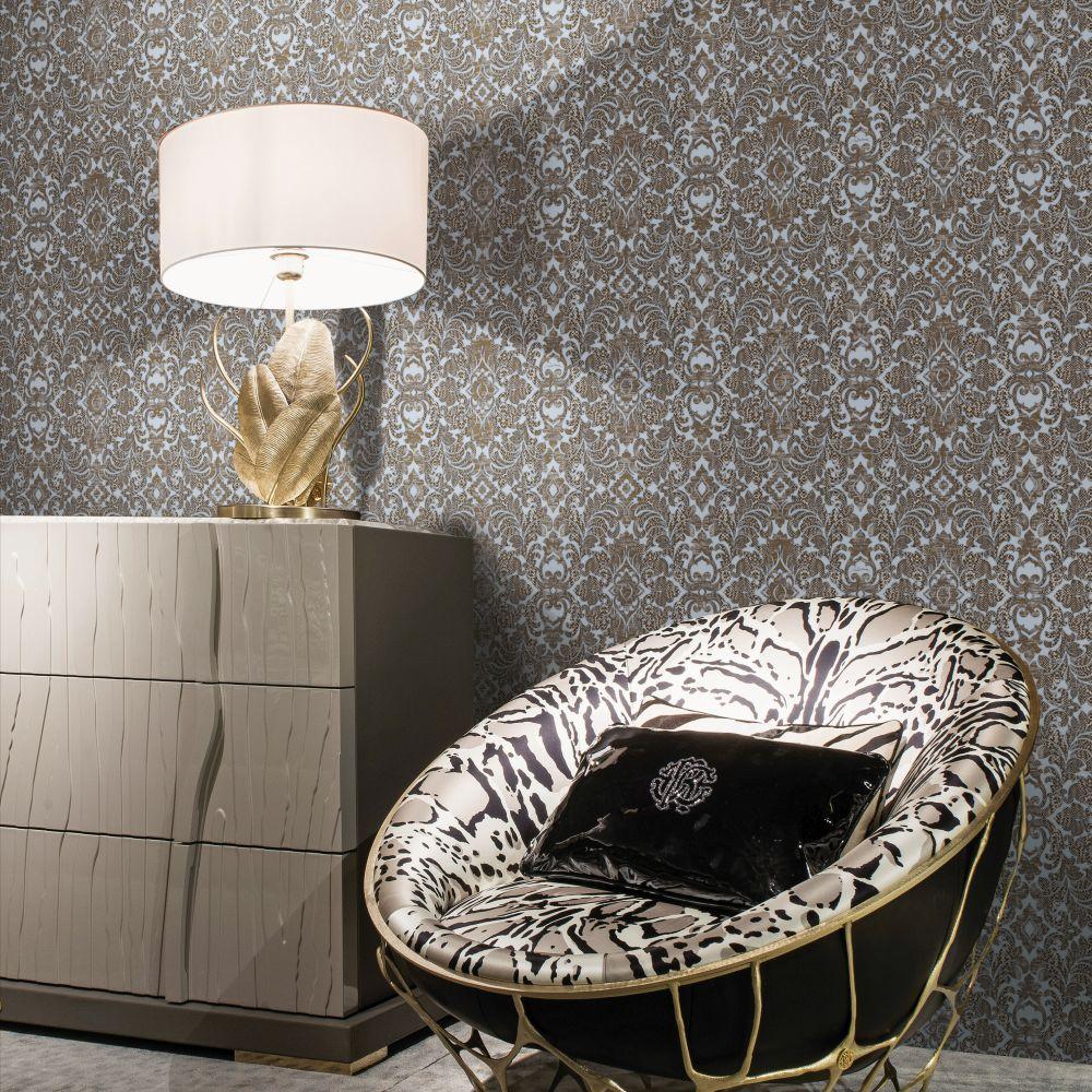 Damasco Watamu Wallpaper - Grey - by Roberto Cavalli