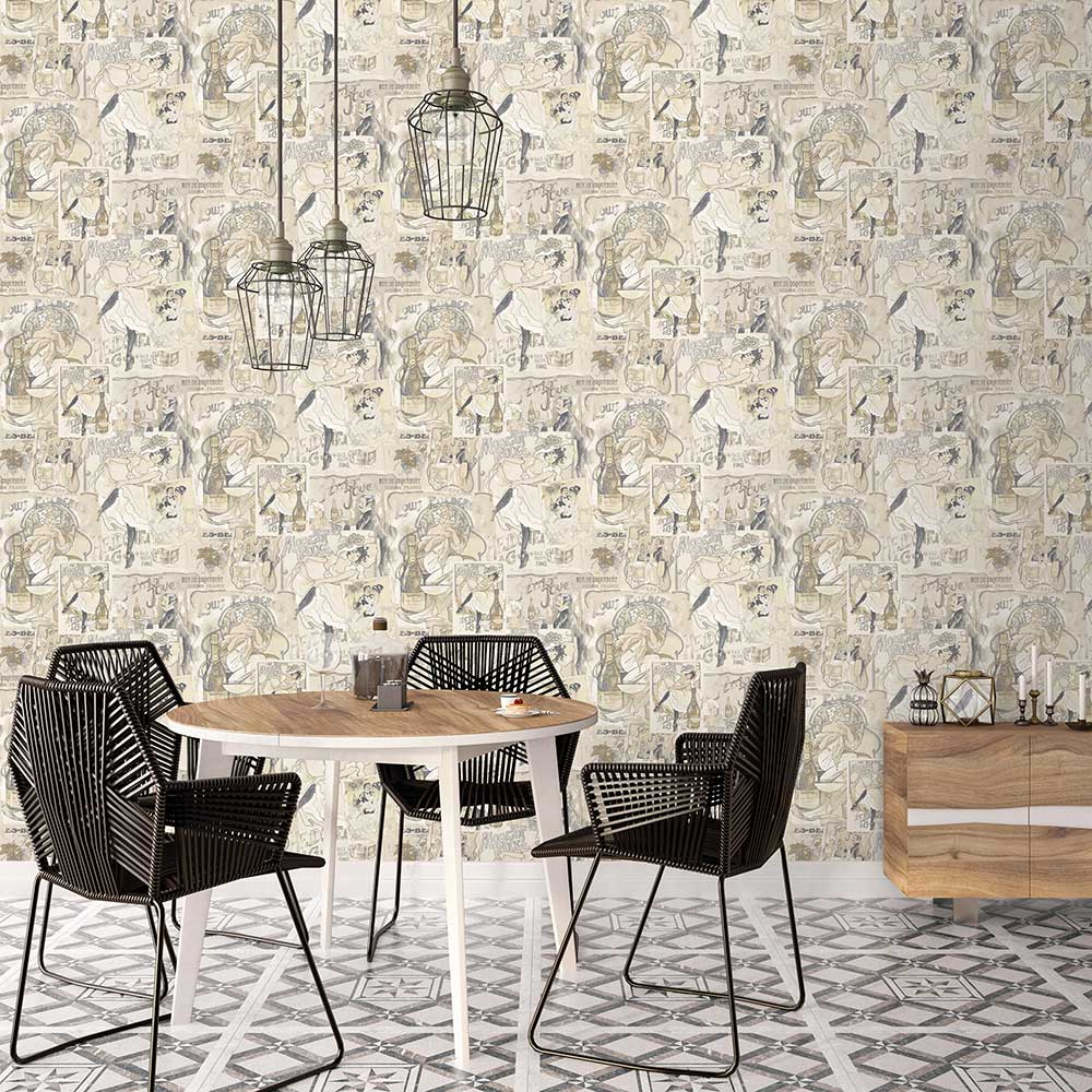 Champagne Posters Wallpaper - Beige - by Galerie