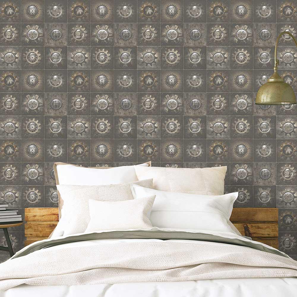 Industrial Tiles Wallpaper - Brown - by Galerie