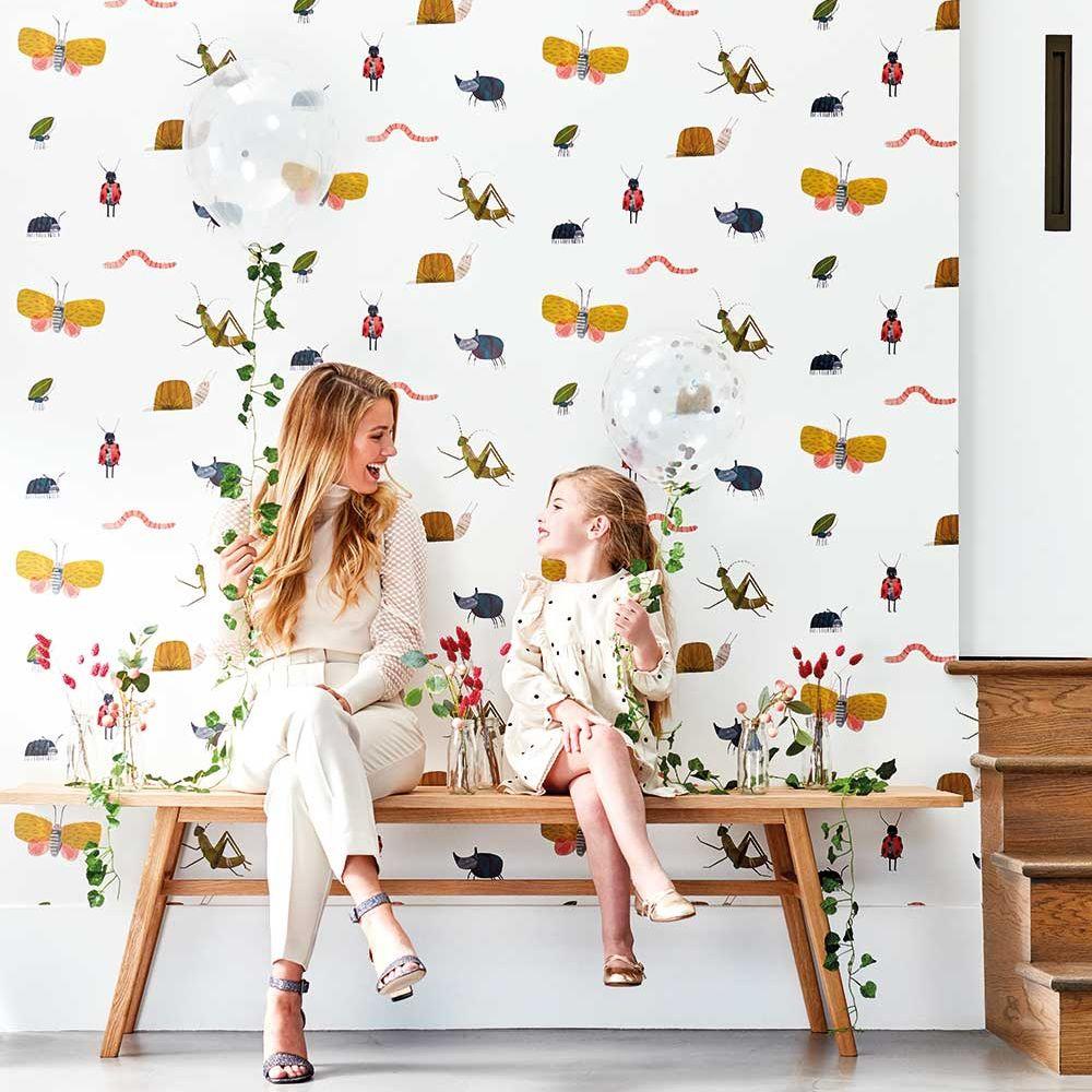 Garden Friends  Wallpaper - Poppy / Ochre / Leaf - by Harlequin