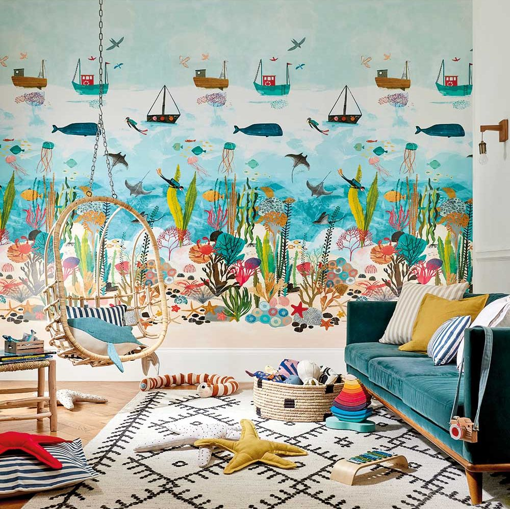 Above And Below Mural - Marine Life - by Harlequin