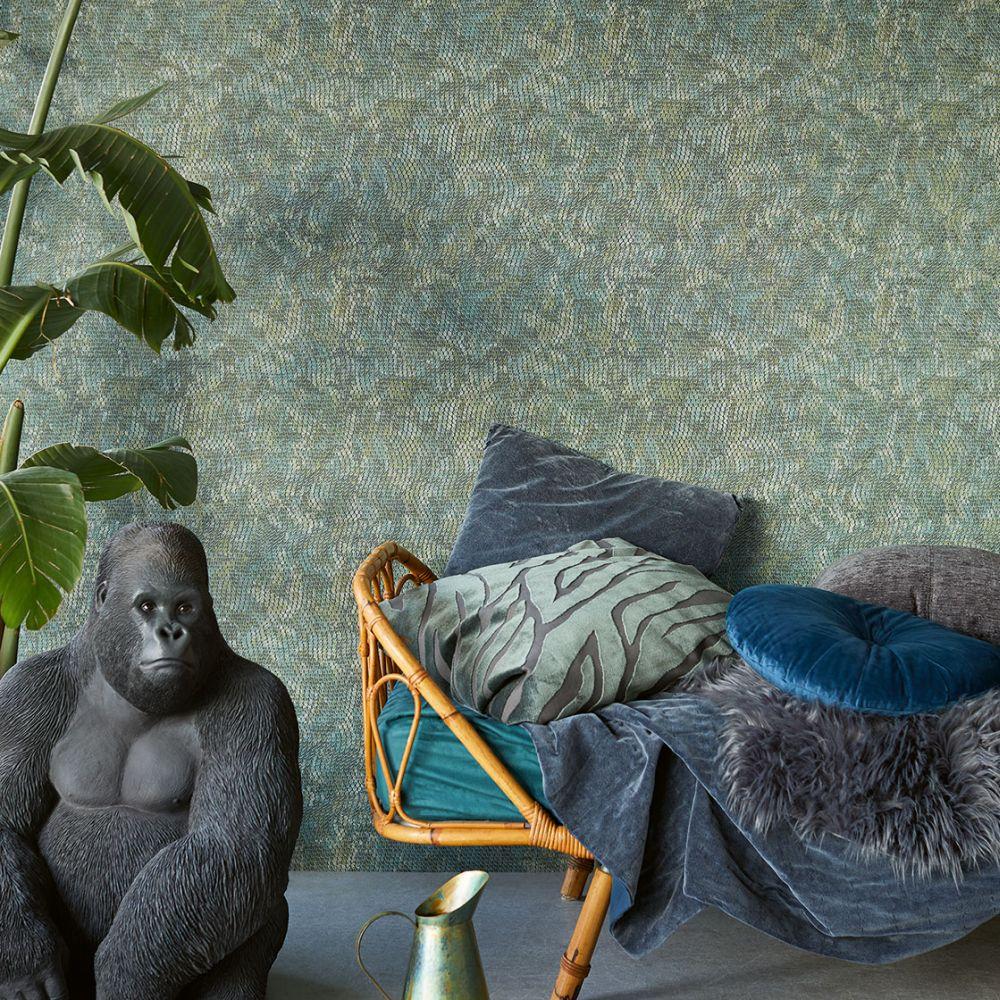 Snake Effect Wallpaper - Green - by Eijffinger