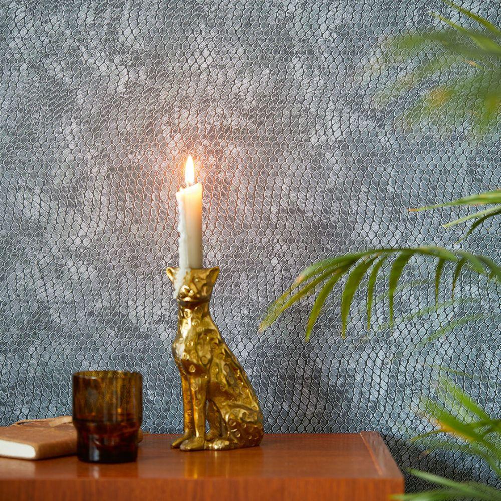 Snake Effect Wallpaper - Blue - by Eijffinger