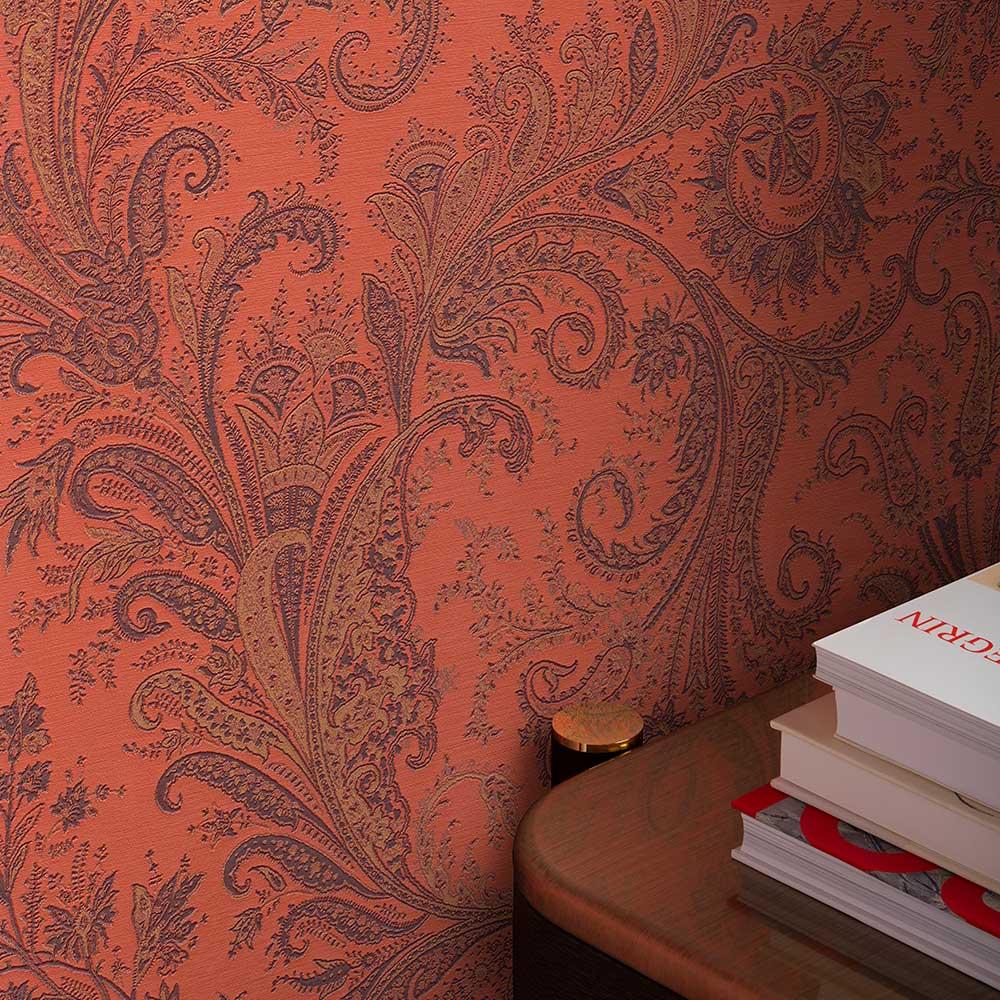 Maracanda Wallpaper - Orange - by Etro