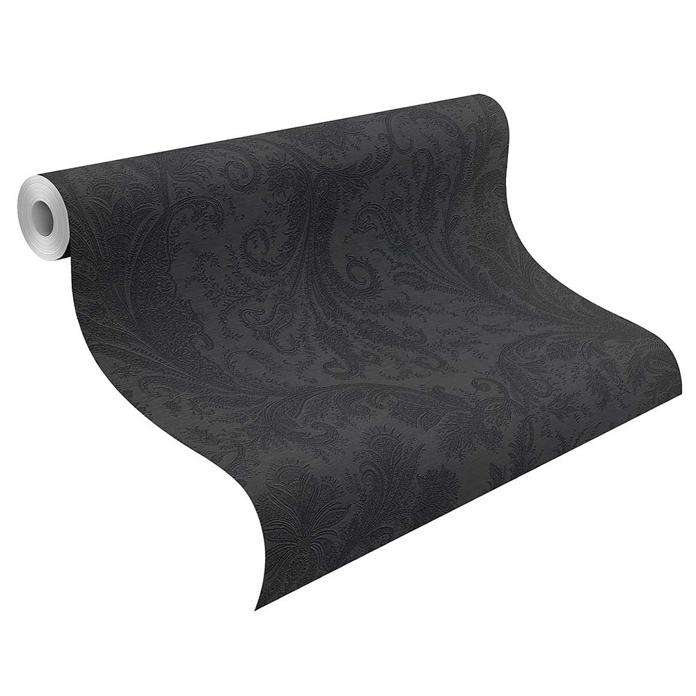 Maracanda Wallpaper - Black - by Etro