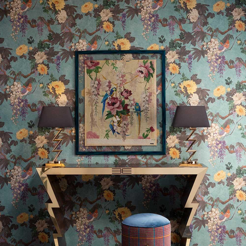 Robin Wallpaper - Blue - by Etro