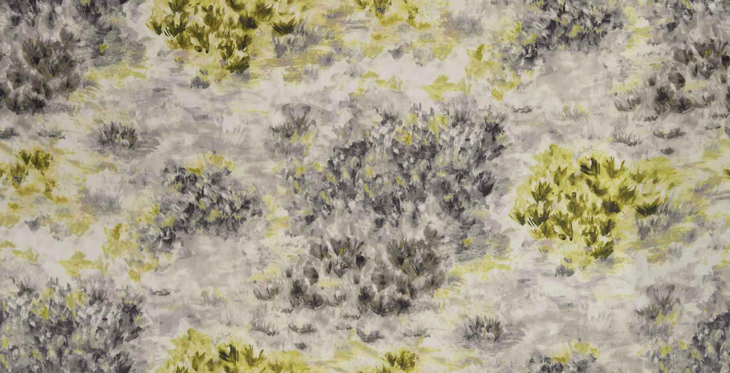 Fiore Fabric - Charcoal / Chartreuse - by Clarke & Clarke