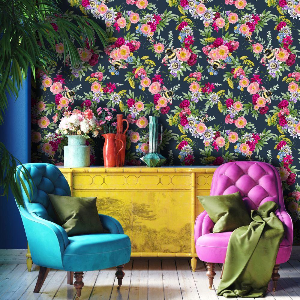 Mixed Bee Wallpaper - Dark Blue - by Lola Design