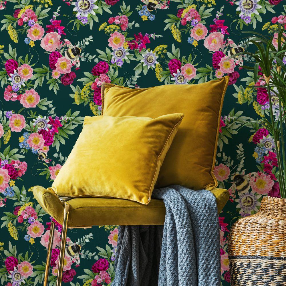 Mixed Bee Wallpaper - Dark Green - by Lola Design