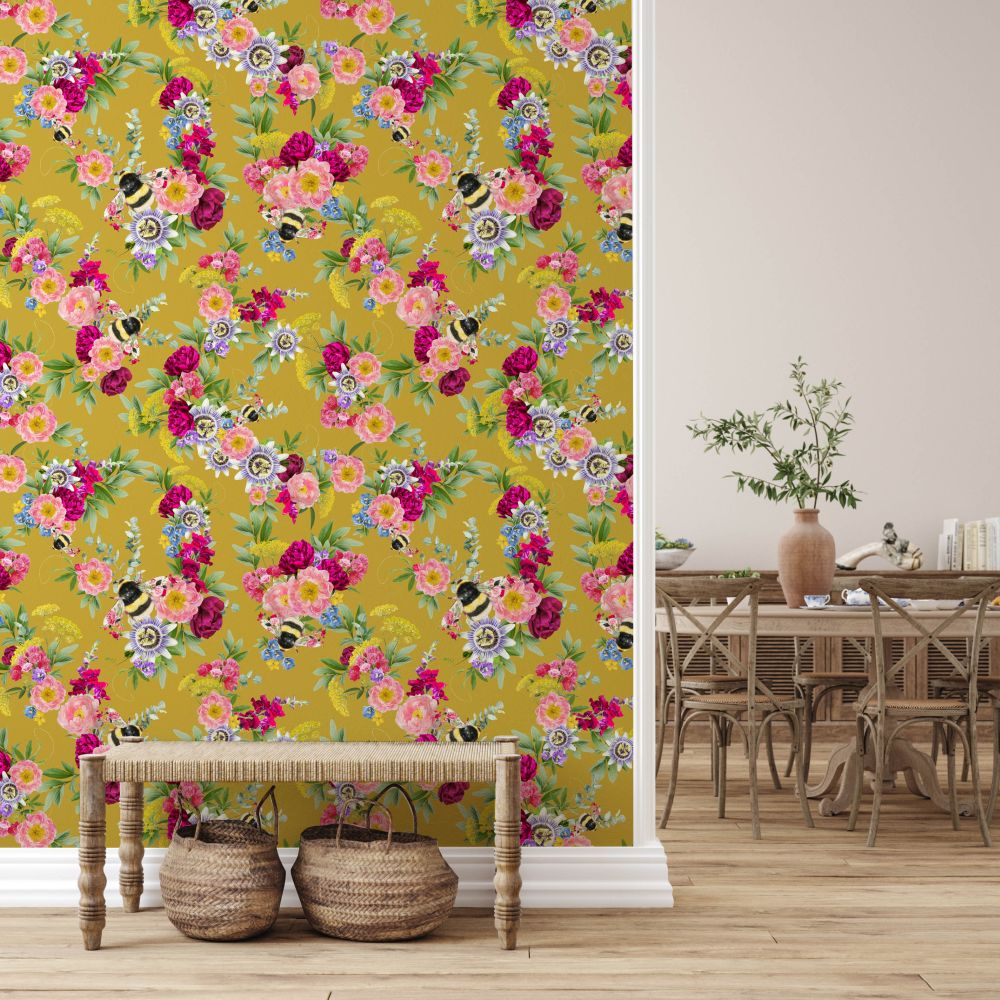 Mixed Bee Wallpaper - Mustard - by Lola Design