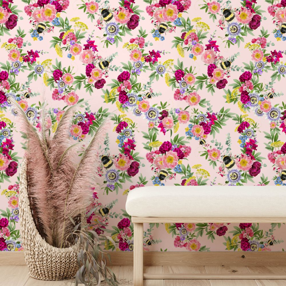 Mixed Bee Wallpaper - Pink - by Lola Design