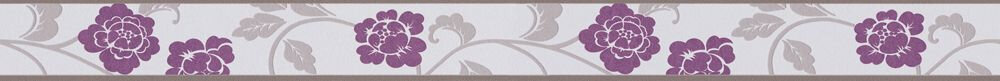 Damask Flower Border - Purple - by Albany