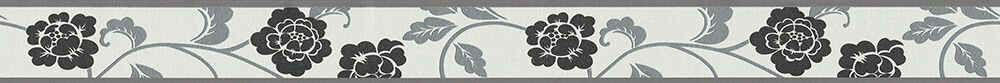 Damask Flower Border - Black - by Albany