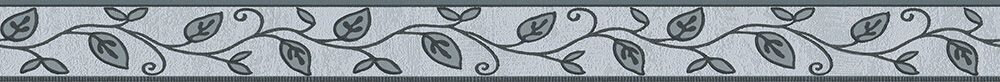 Leaf Trail Border - Silver Grey - by Albany