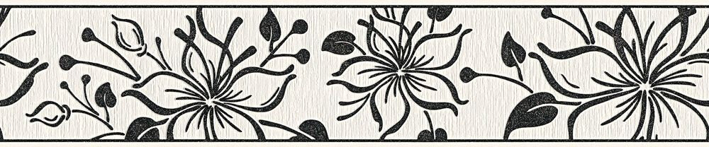 Night Flower Border - Black / White - by Albany