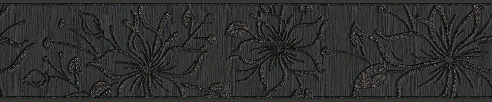 Night Flower Border - Black - by Albany