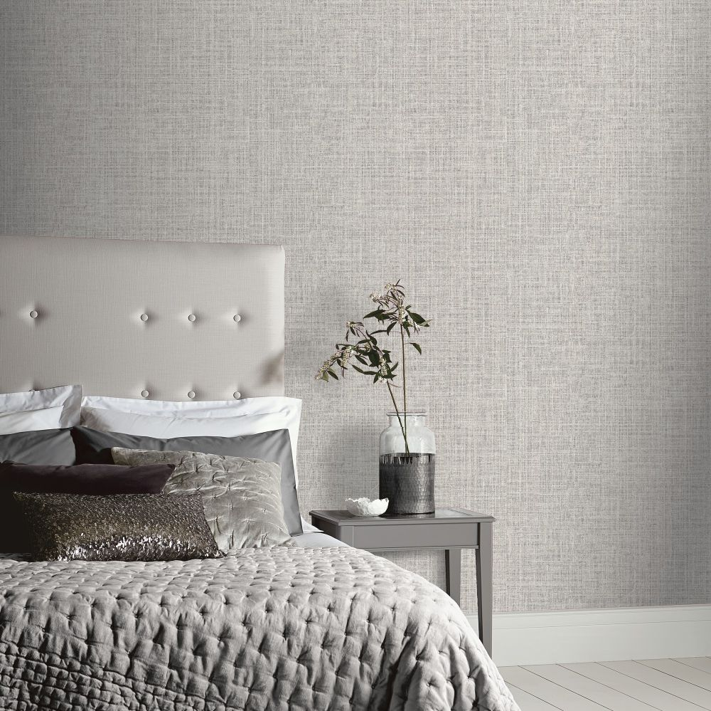 Luxe Hessian Wallpaper - Mid Grey - by Arthouse