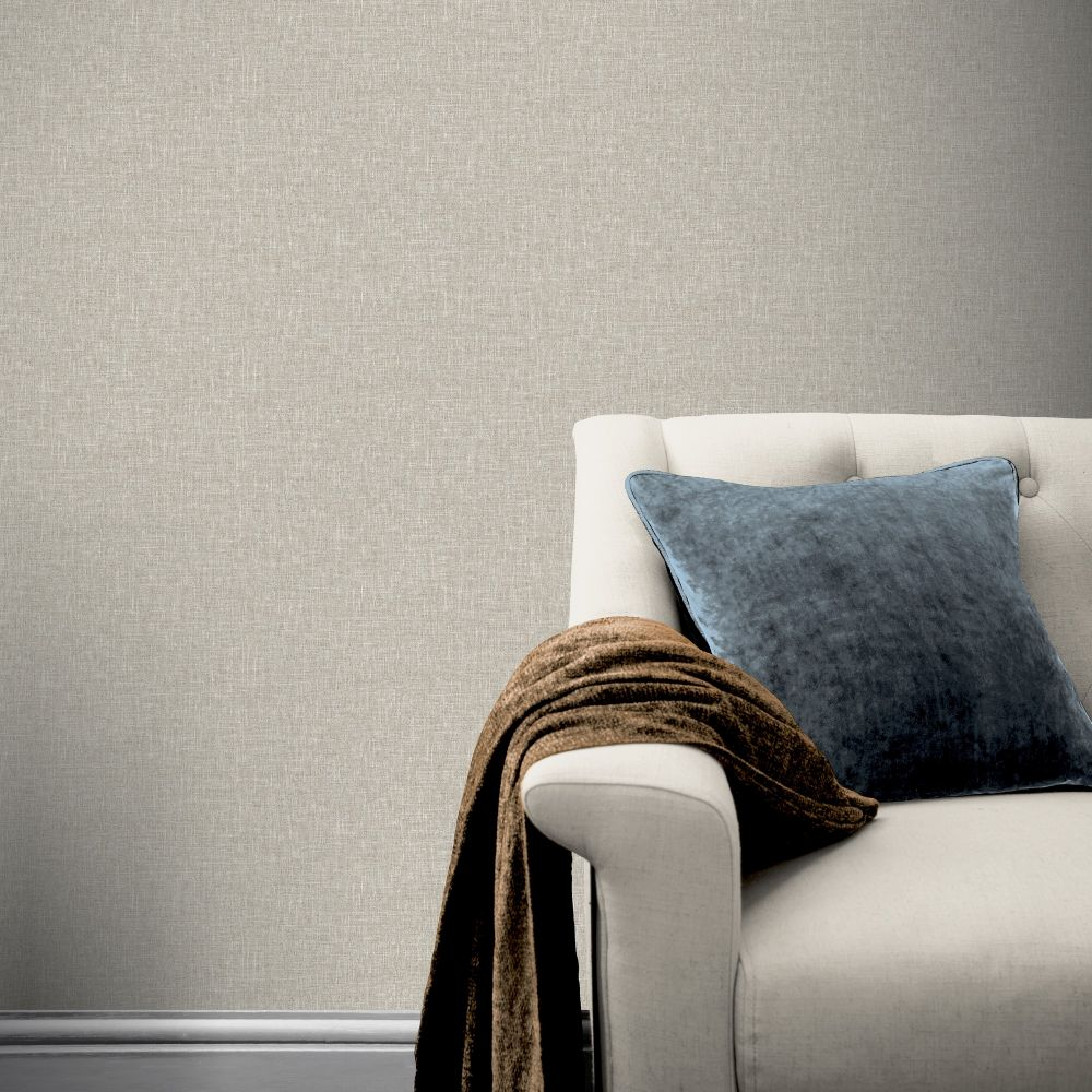 Luxe Hessian Wallpaper - Taupe - by Arthouse