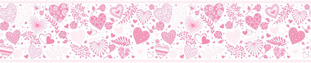 Heart Collage Border - Pink - by Albany
