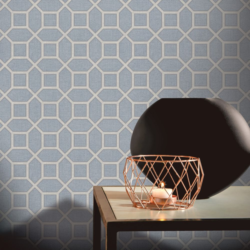 Luxe Origin Wallpaper - Soft Blue - by Arthouse