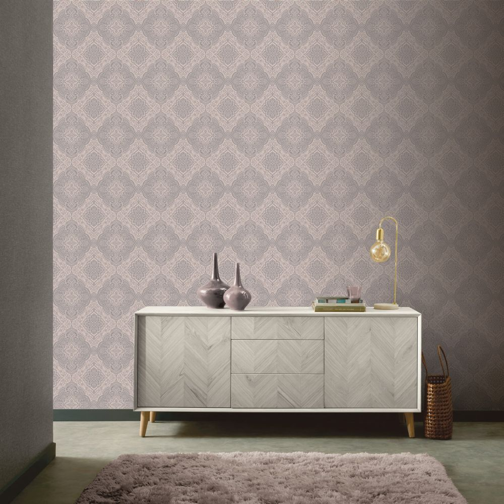 Luxe Medallion Wallpaper - Rose Gold - by Arthouse