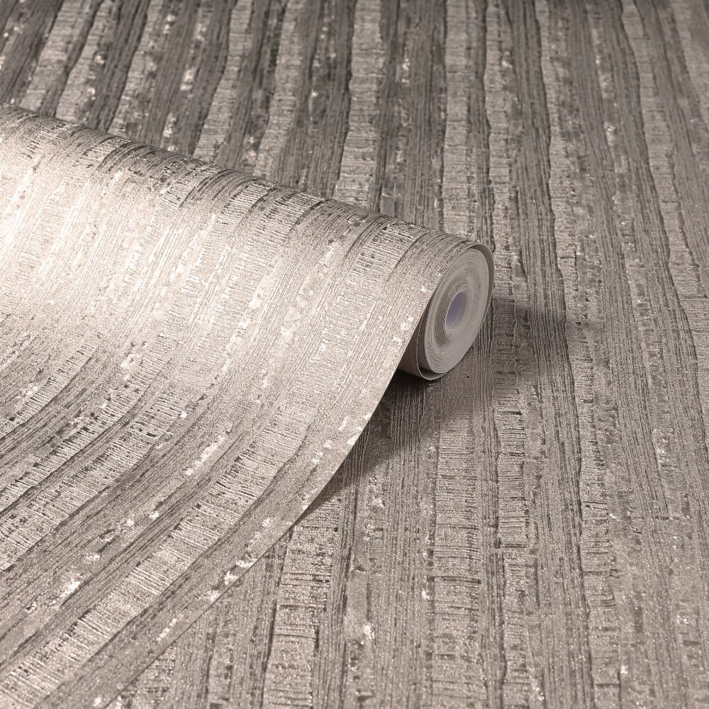Luxe Industrial Stripe Wallpaper - Rose Gold - by Arthouse