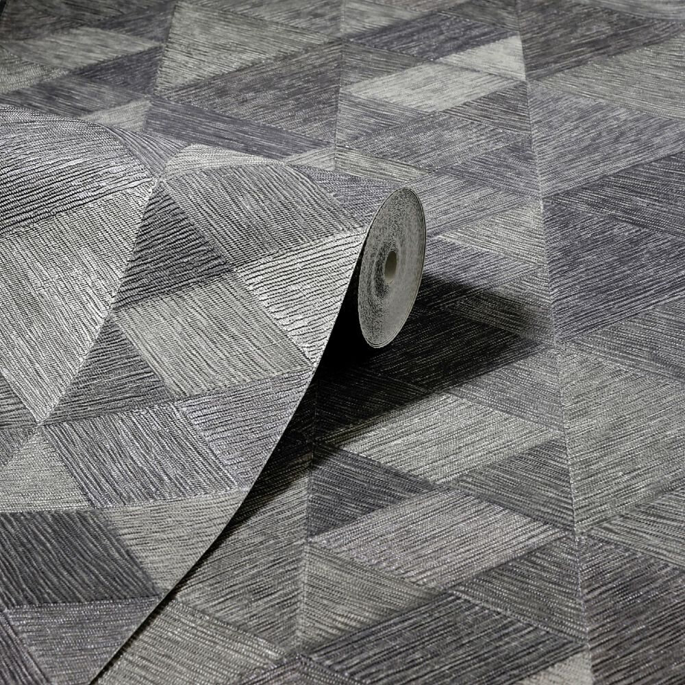 Luxe Triangle Wallpaper - Charcoal - by Arthouse