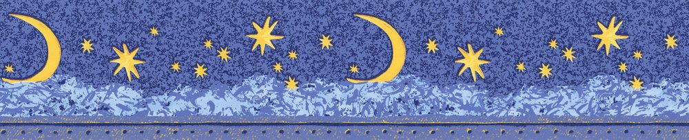 Moon & Stars Border - Blue - by Albany
