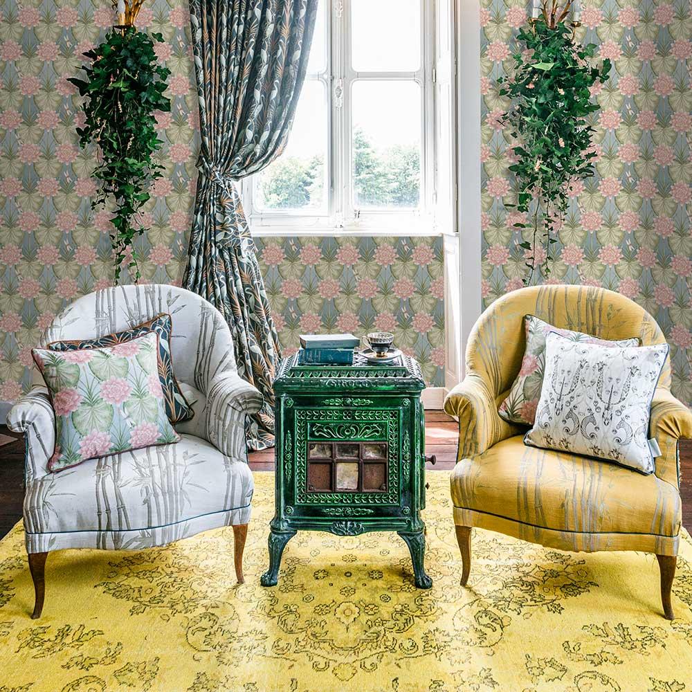 Lily Garden Wallpaper - Eau de Nil - by The Chateau by Angel Strawbridge