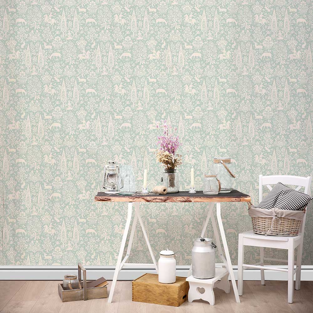 Woodland Wallpaper - Duck Egg - by Crown