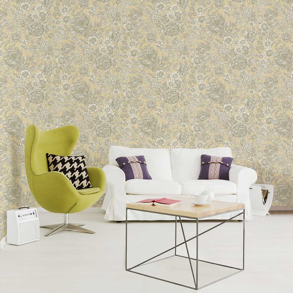 Wild Hedgerow Wallpaper - Buttermilk - by Crown