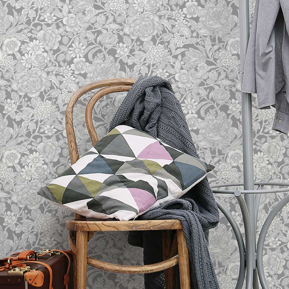 Wild Hedgerow Wallpaper - Grey - by Crown