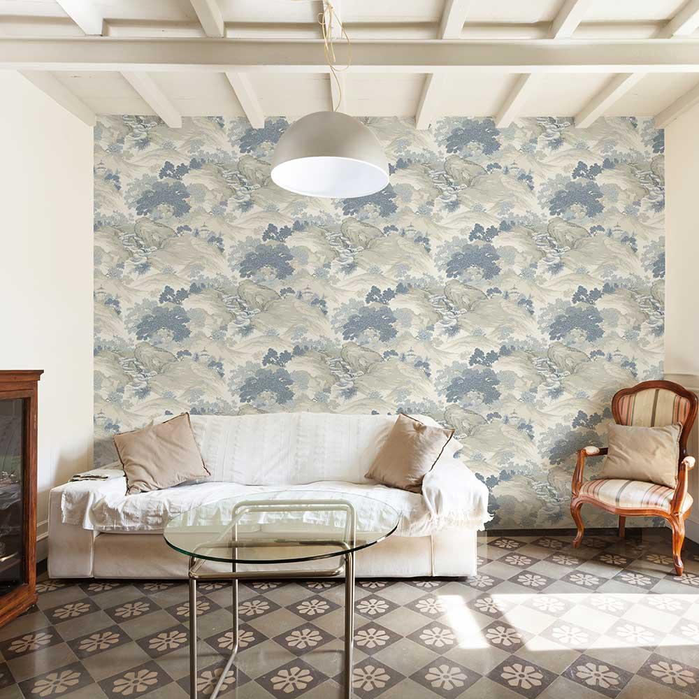 Oriental Landscape Wallpaper - China Blue - by Crown