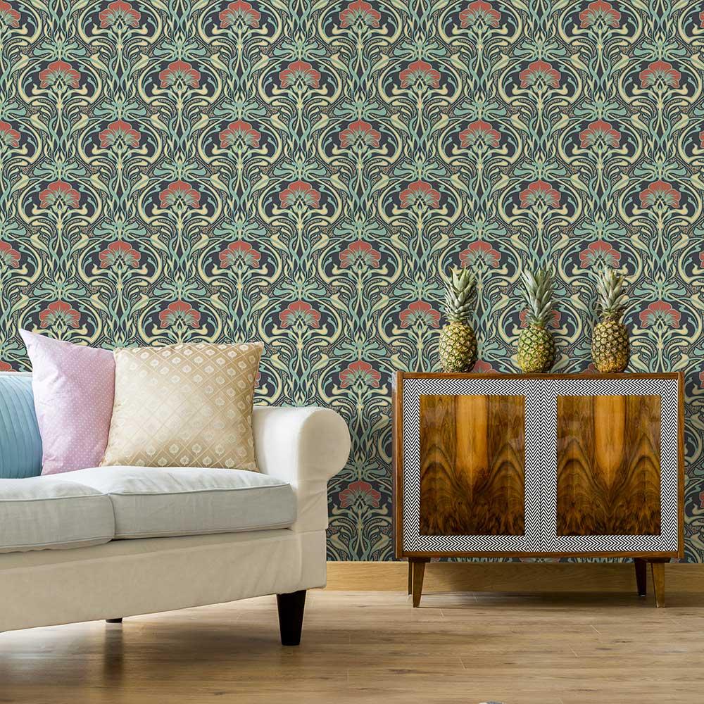 Flora Nouveau Wallpaper - Peacock Green - by Crown