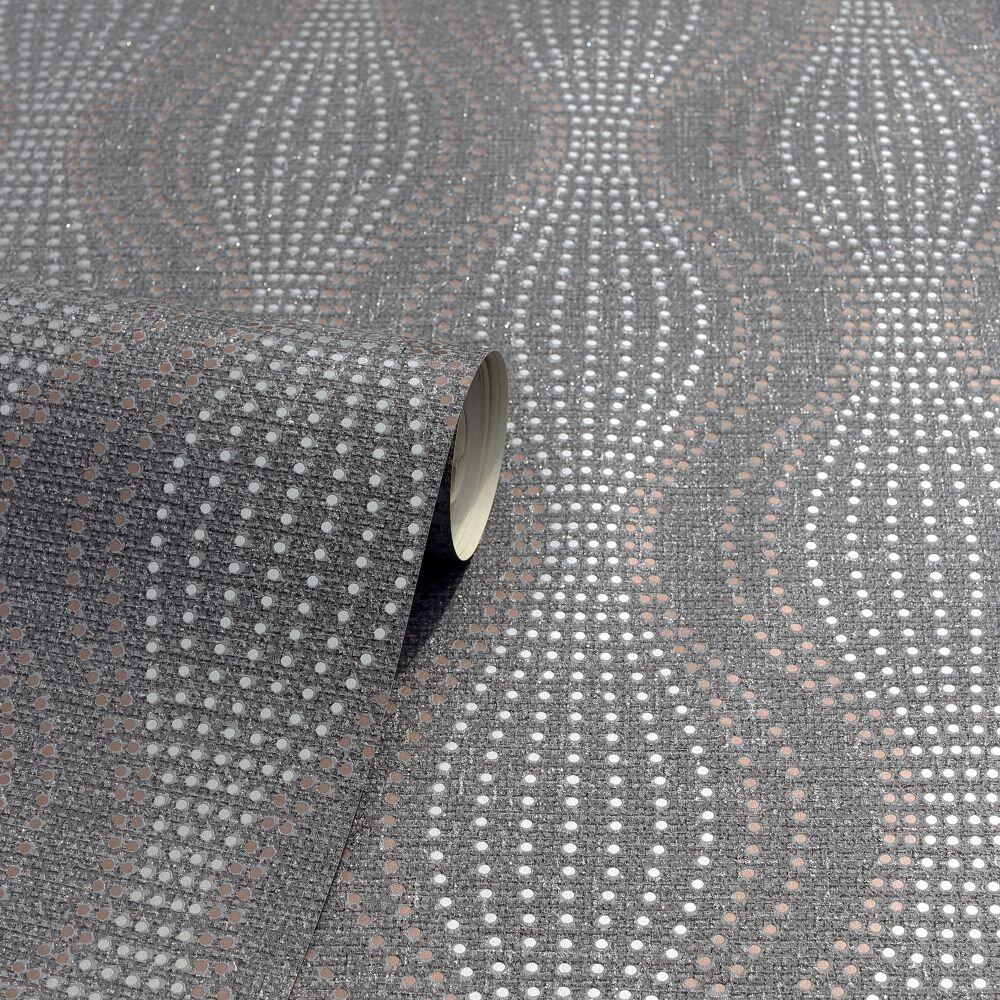 Calico Dot Wallpaper - Gunmetal - by Arthouse