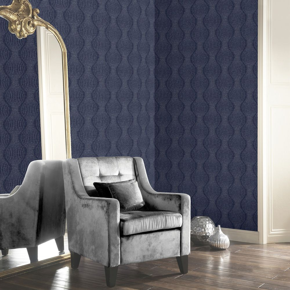 Calico Dot Wallpaper - Navy - by Arthouse
